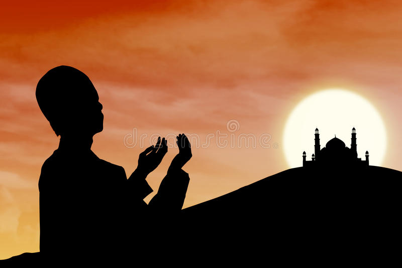 祈祷在日落的回教人卡片设计剪影 库存例证