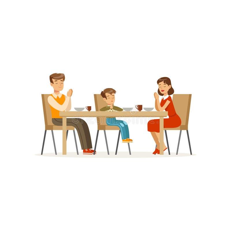祈祷在膳食前的宽容家庭 坐在餐桌上的父亲、母亲和儿子 人,妇女漫画人物和 向量例证
