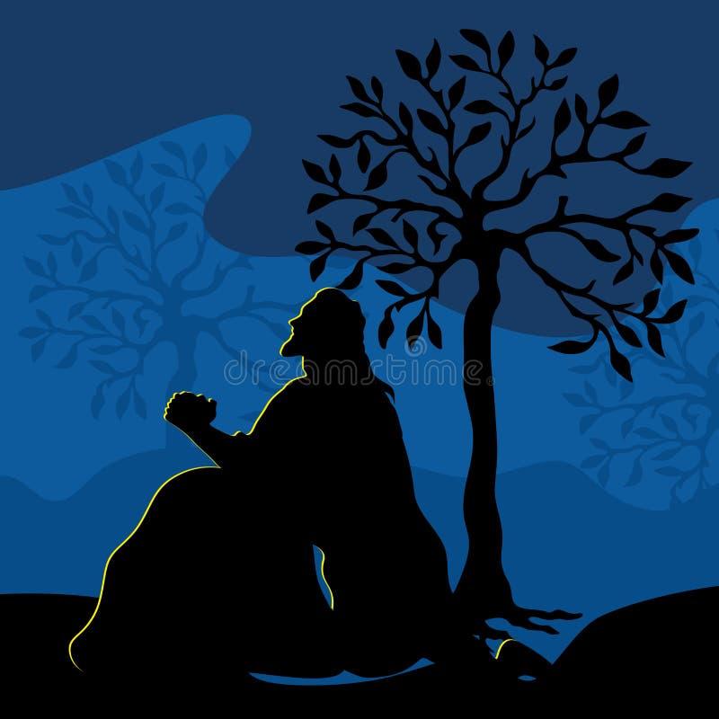祈祷在Gethsemane的耶稣的例证在十字架上钉死的前夕 向量例证