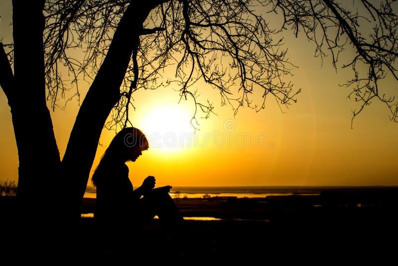 祈祷对自然witth的上帝圣经的妇女剪影在日落、宗教的概念和灵性 免版税图库摄影