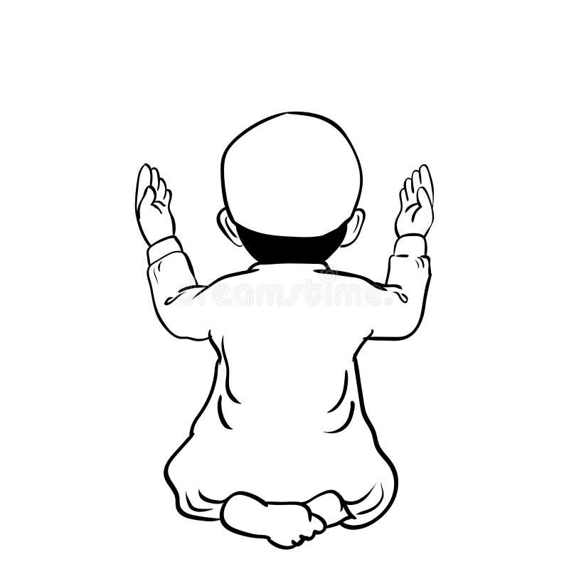 祈祷手拉的回教的男孩-传染媒介动画片例证 皇族释放例证
