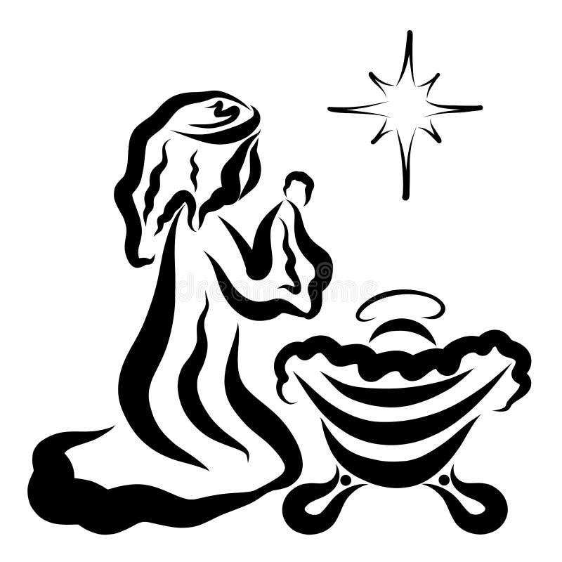 祈祷的圣母玛丽亚,饲槽和发光的星的耶稣 皇族释放例证