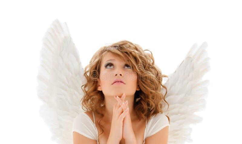 祈祷的少年天使女孩或少妇 免版税库存图片