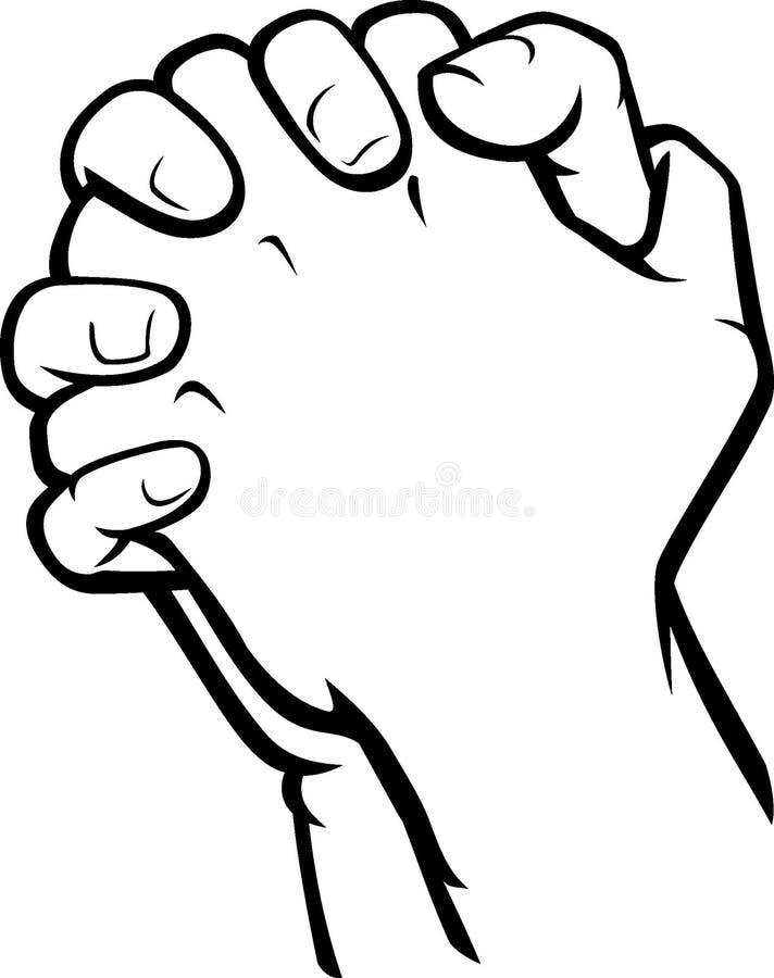 祈祷的手侧视图 皇族释放例证