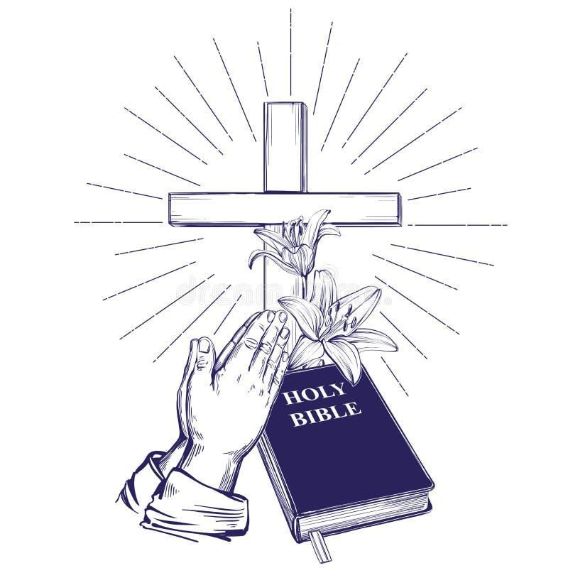 祈祷的手,圣经,福音书,铁海棠,木十字架 复活节 基督教手拉的传染媒介的标志 皇族释放例证