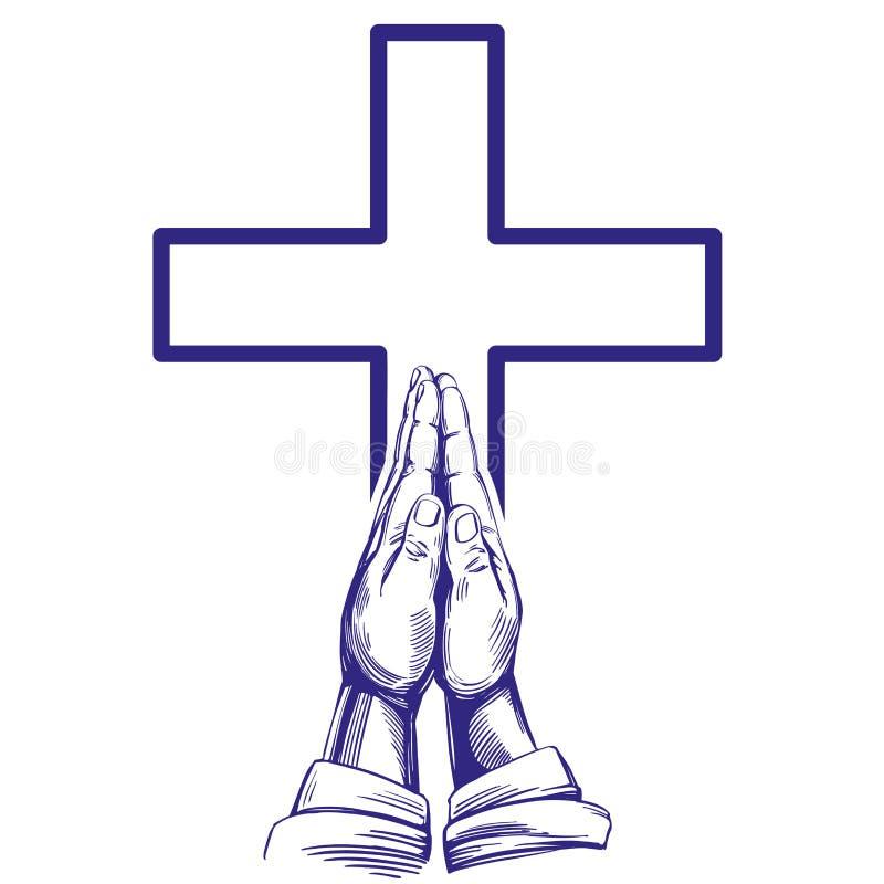 祈祷的手,基督教手拉的传染媒介例证剪影的标志 向量例证