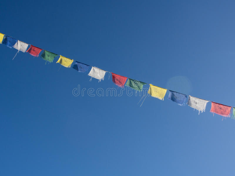 祈祷的旗子, Langtang谷,尼泊尔 库存图片