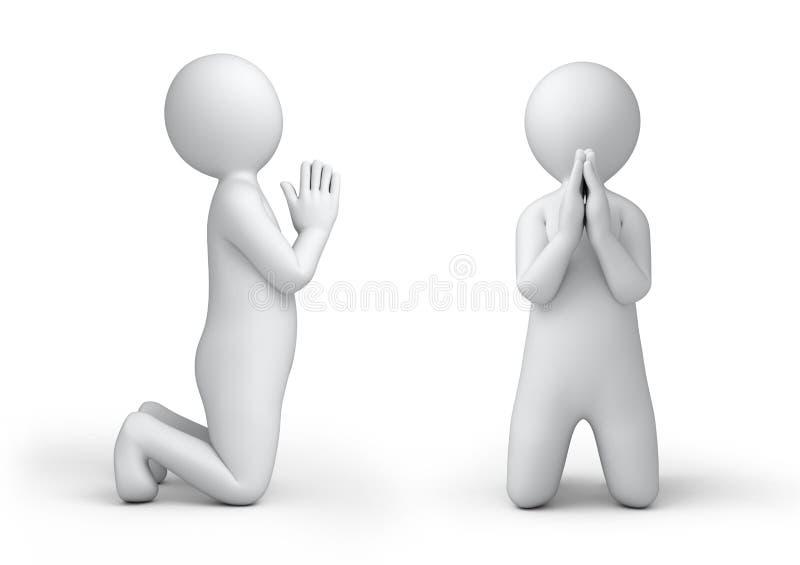 祈祷的3d人 向量例证