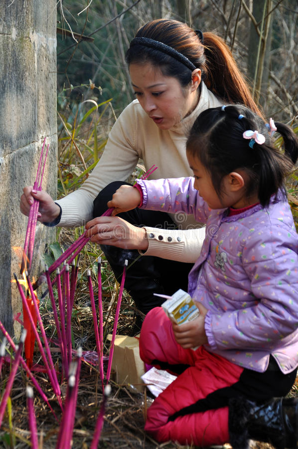 祖先尊敬在中国 免版税库存照片