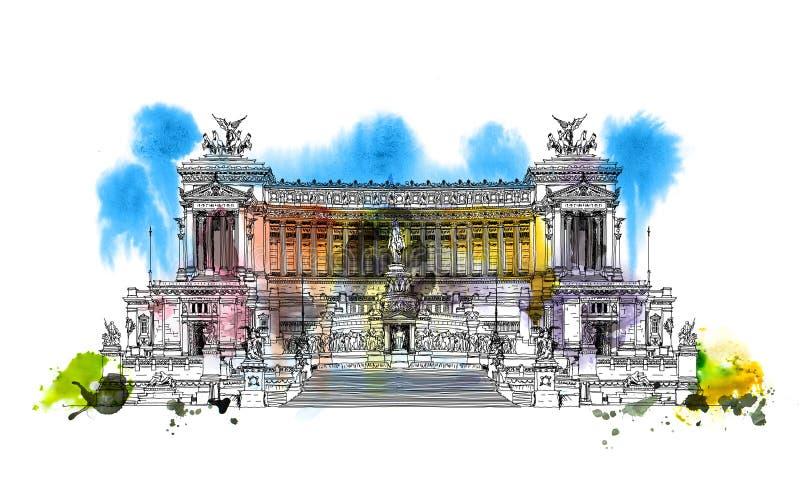 祖国阿尔塔雷della Patria的法坛1925年 广场Venezia 维托里奥Emanuele II在罗马,意大利 与五颜六色的wat的剪影 向量例证