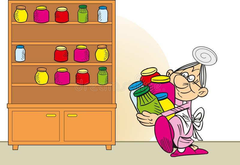 祖母准备果酱 库存例证