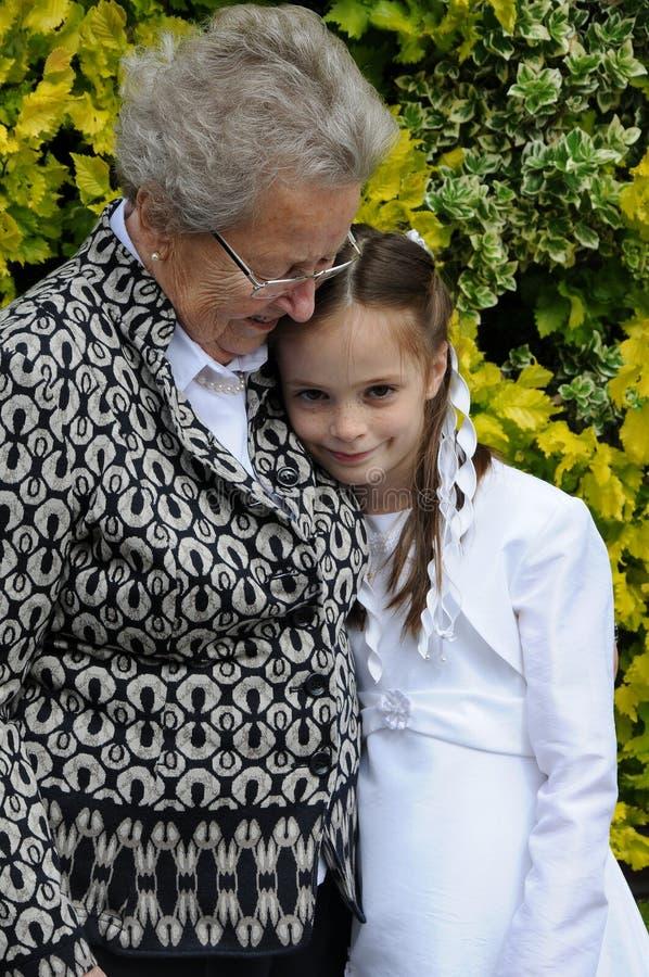 祖母和女孩 库存照片
