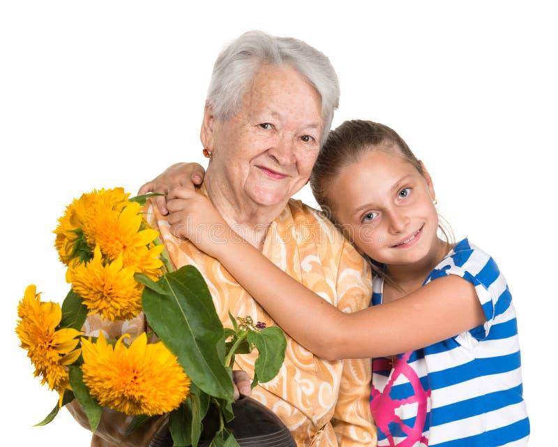 祖母和孙女 库存照片