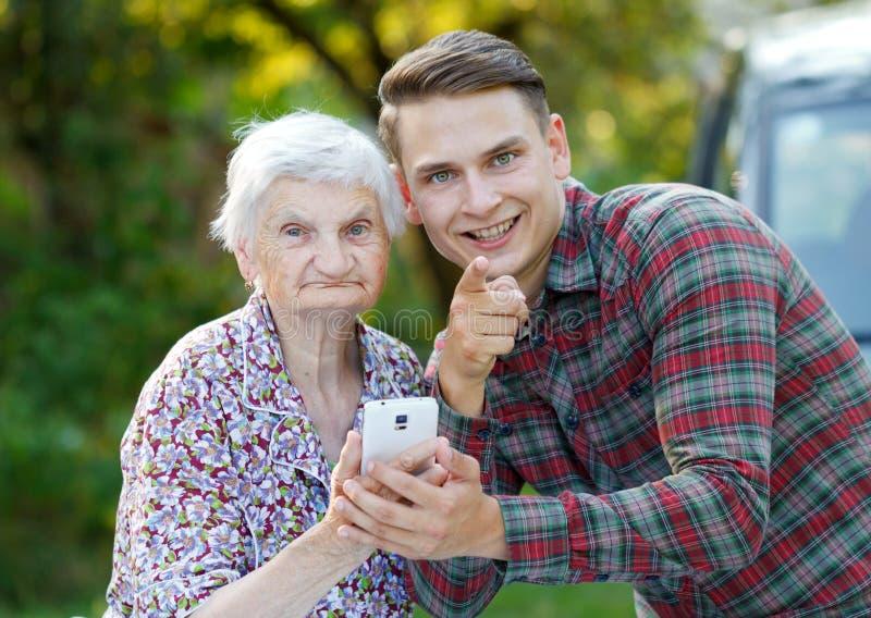 祖母和孙子 库存图片