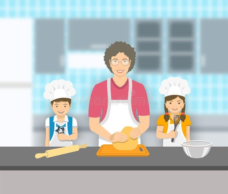 祖母和孩子在厨房一起烘烤 皇族释放例证