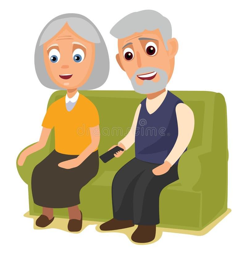 祖母和祖父一起坐沙发 库存例证