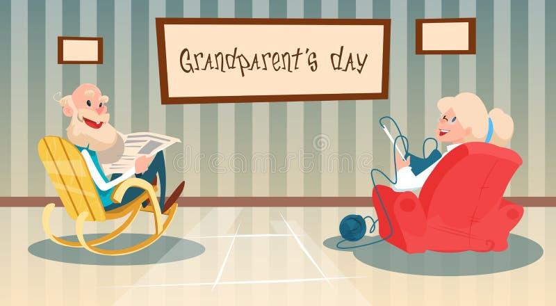 祖母和祖父最佳的老婆婆祖父祖父母天贺卡 库存例证