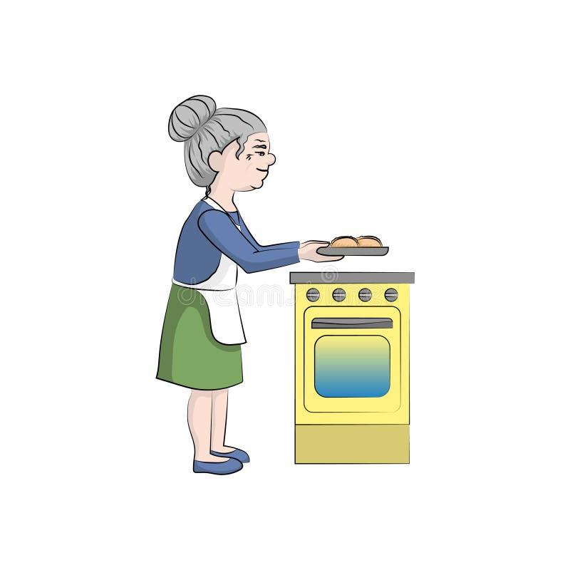 祖母在火炉附近烹调饼 传染媒介颜色 皇族释放例证
