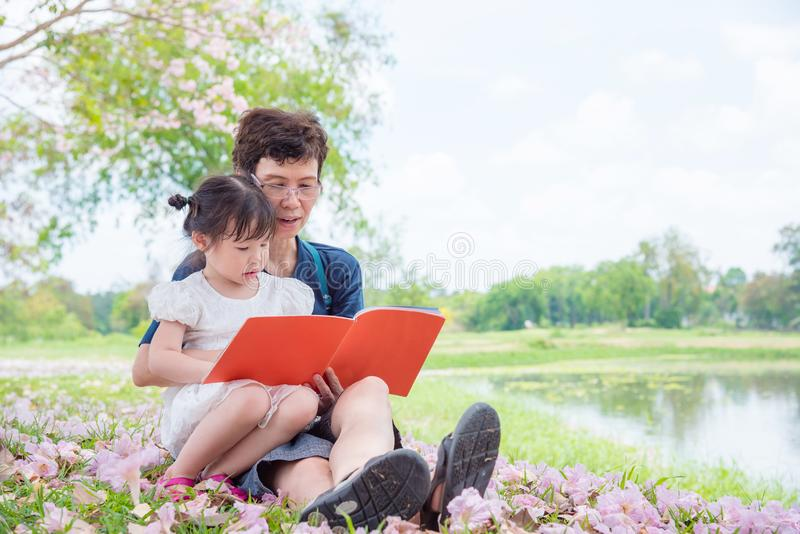 祖母她的孙女的阅读书 免版税图库摄影