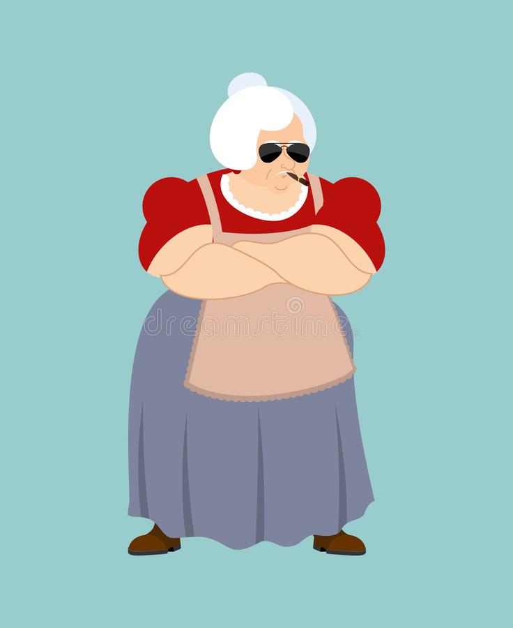 祖母强凉快严肃 祖母抽烟的雪茄emoji Ol 皇族释放例证