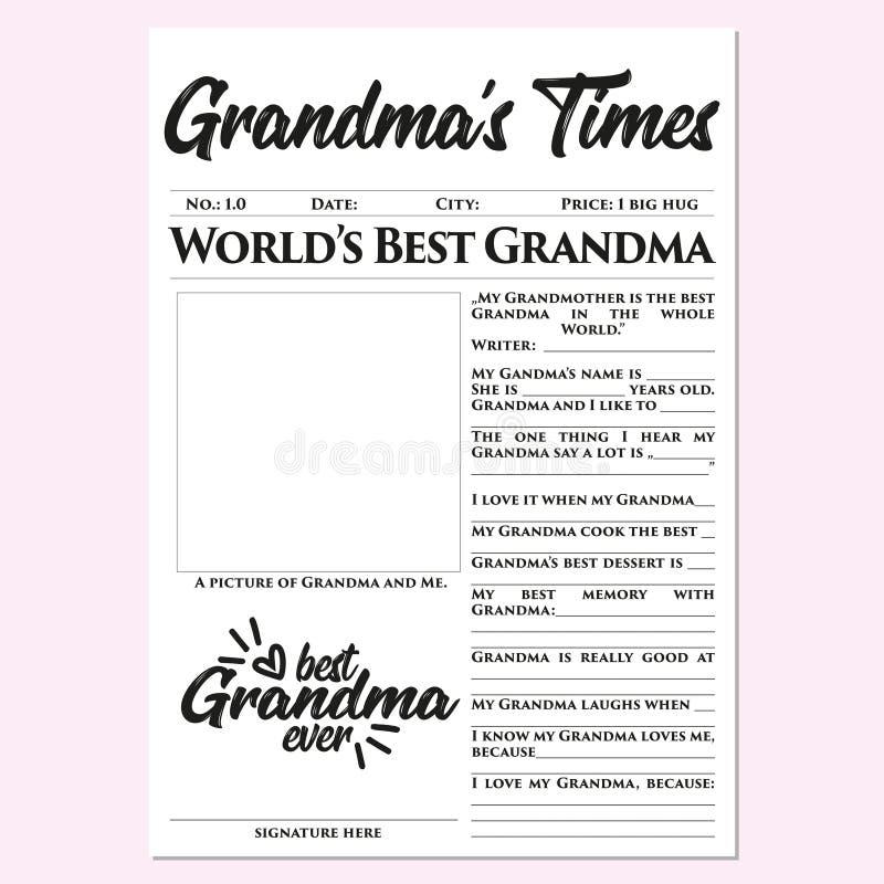 祖母的时间-母亲节礼物,记忆,快,容易,美妙,感人的礼物 库存例证