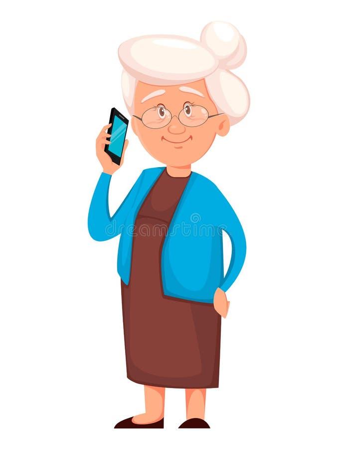 祖母藏品智能手机 o 皇族释放例证
