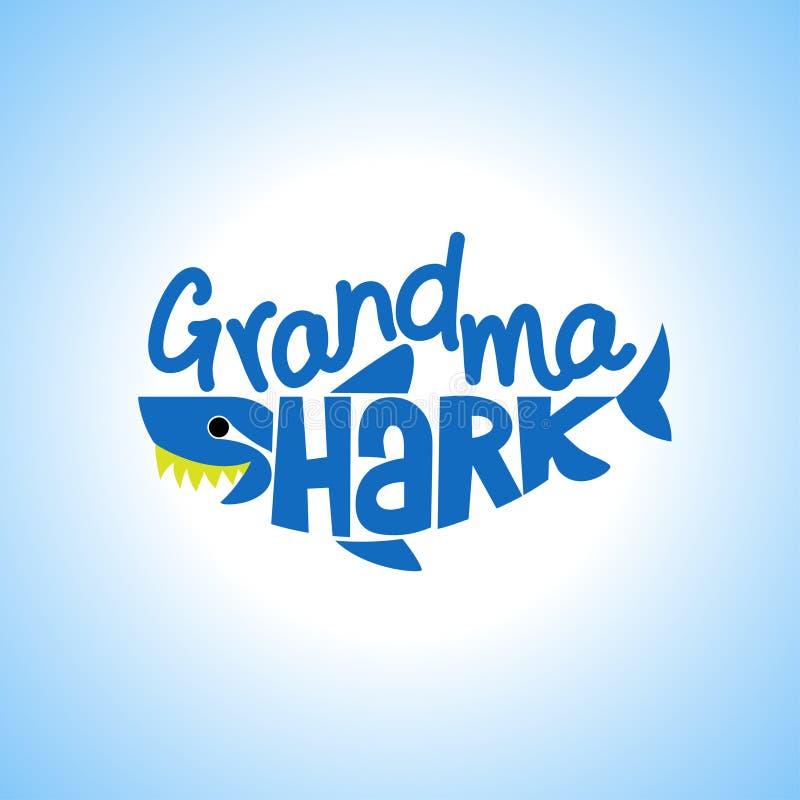 祖母鲨鱼Doo Doo Doo T恤杉,有冠乌鸦,坦克 库存例证