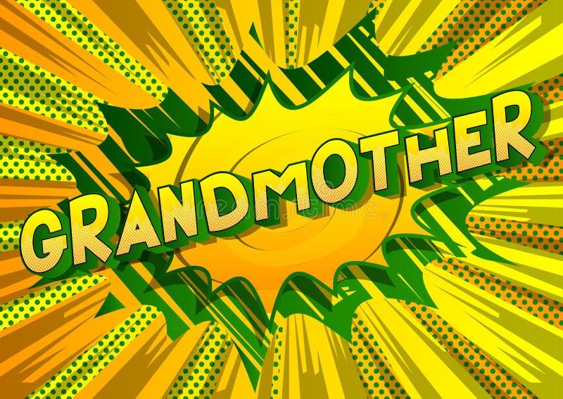 祖母-漫画样式词 库存例证
