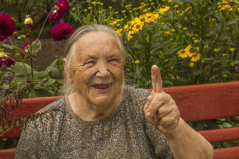 祖母86年,微笑,画象 免版税图库摄影