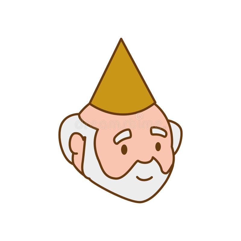 祖父党帽子老人人男性象 背景装饰图象风格化漩涡向量挥动 皇族释放例证