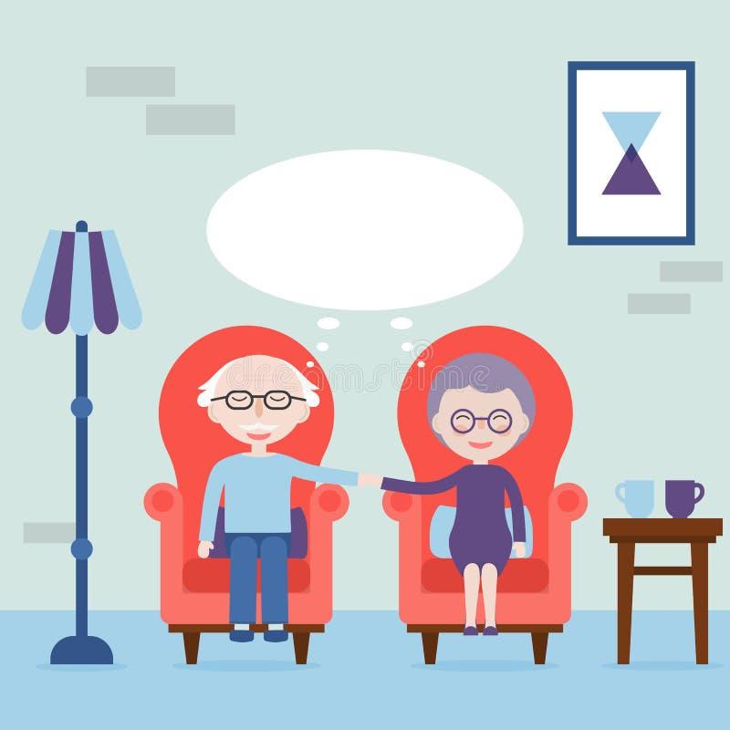 祖父和祖母举行手和坐在扶手椅子 总是感觉爱 老人的梦想 也corel凹道例证向量 向量例证