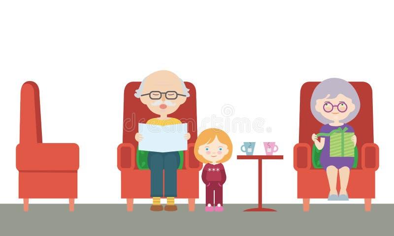 祖父和祖母的平的设计动画片例证坐椅子和孙在参观,读  向量例证