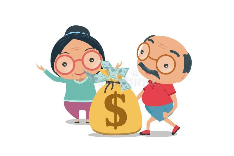 祖父母、老老人和妇女愉快的退休变得富有 向量例证