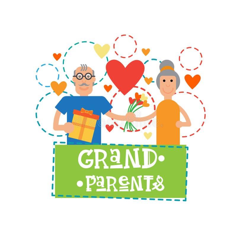 祖父母一起结合愉快的祖母和祖父天贺卡横幅 向量例证