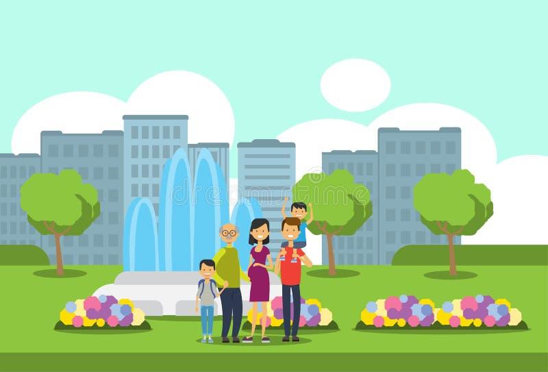 祖父母做父母儿童孙,多一代家庭,在城市公园喷泉的全长具体化 库存例证