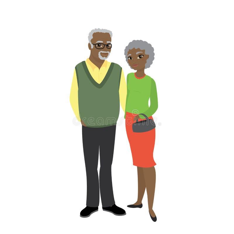 祖父母和隔绝在白色背景 向量例证