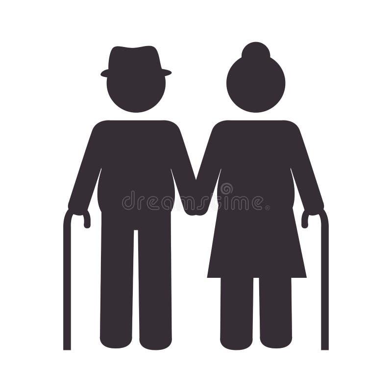 祖父母夫妇剪影象 库存例证