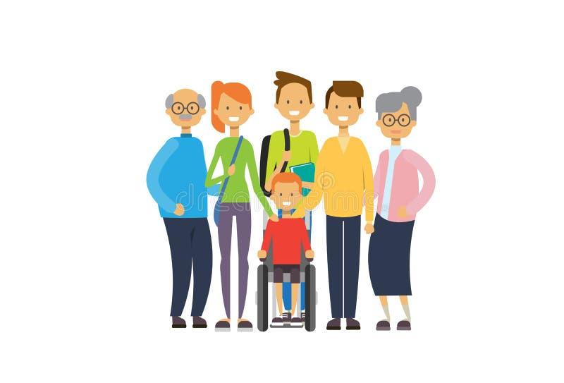 祖父母父母儿童孙轮椅,多一代家庭,白色背景的全长具体化 皇族释放例证