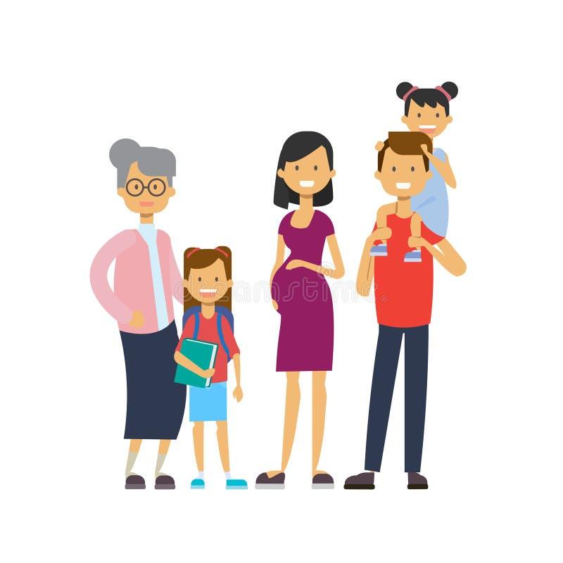 祖父母父母孙,多一代家庭,白色背景的全长具体化,幸福家庭 库存例证