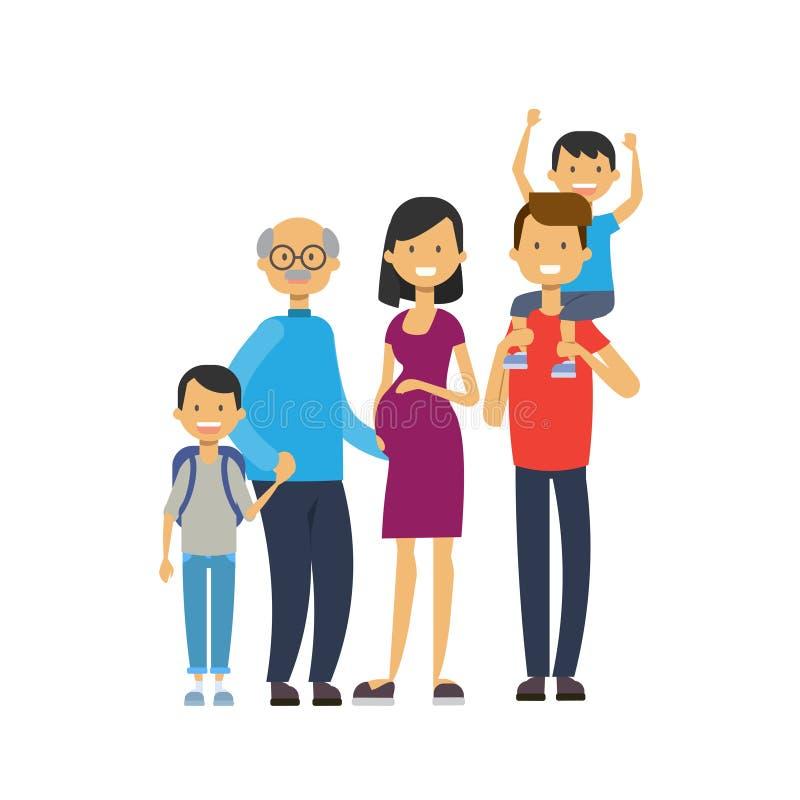 祖父母父母孙,多一代家庭,白色背景的全长具体化,幸福家庭 向量例证