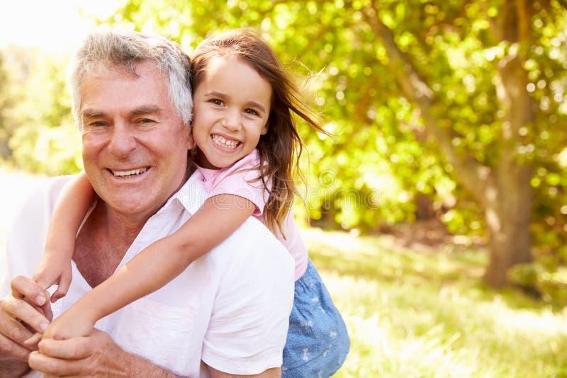 祖父获得乐趣户外与他的孙女,画象 免版税库存照片
