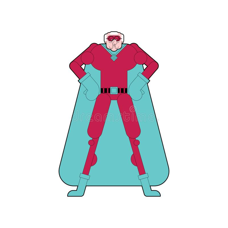 祖父超级英雄 面具和雨衣的超级爷爷 坚强的老人 皇族释放例证
