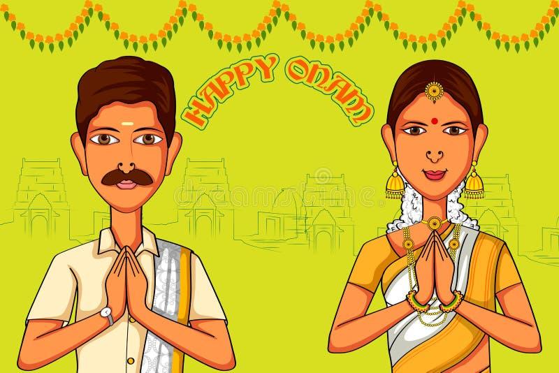 祝愿在印地安艺术样式的南印度夫妇愉快的Onam 向量例证