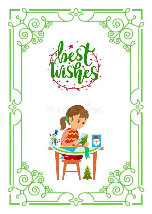 祝福满满圣诞节假日,女孩坐在表上 向量例证