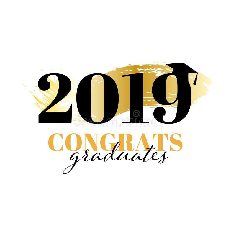 祝贺毕业生类2019年 横幅、证明、文凭或者广告的传染媒介例证 ?? 皇族释放例证