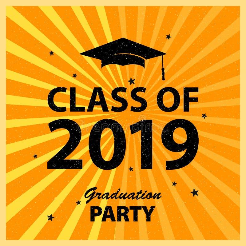 祝贺毕业生类2019年 贺卡背景,大学生奖 祝贺的仪式 向量例证
