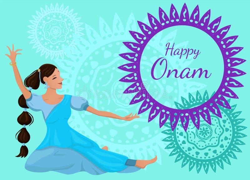 祝贺的海报或横幅与题字愉快的Onam 舞蹈姿势的一名美丽的印度妇女 o 向量例证