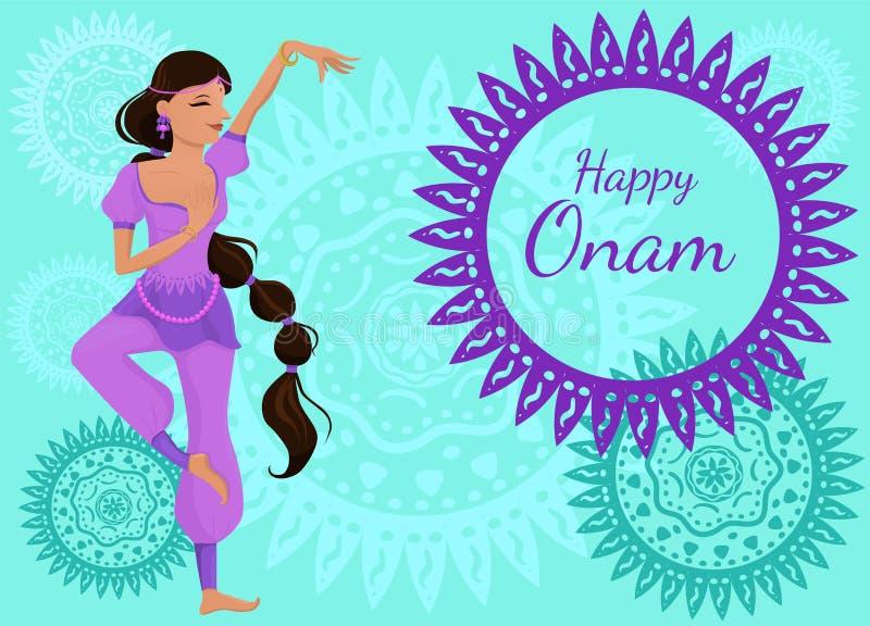 祝贺的海报或横幅与题字愉快的Onam 舞蹈姿势的一名美丽的印度妇女 o 库存例证