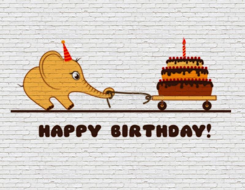 祝贺孩子的生日快乐 在一个白色砖墙上的街道画 动画片与蛋糕和一个蜡烛的大象小牛 库存例证