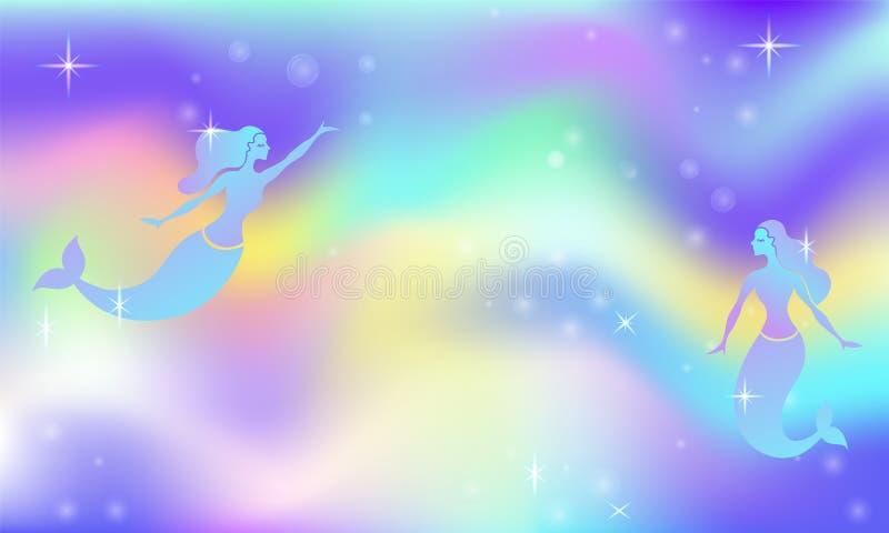 神仙的与美人鱼的空间不可思议的焕发传染媒介背景 发光的美丽的宇宙 彩虹滤网 多色宇宙空间横幅 库存例证